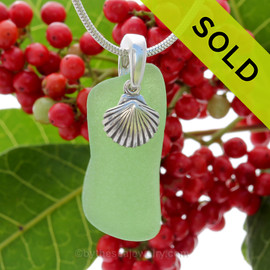"Glowing Green Sea Glass With Sterling Silver Shell Charm - 18"" STERLING CHAIN INCLUDED"