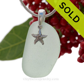 "Simply Sea Glass - Larger Seafoam Green Natural Sea Glass Necklace W/ Starfish Charm 0n 18"" Solid Sterling Snake Chain"