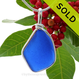 5 Point Genuine Blue Sea Glass Pendant In our Sterling Original Wire Bezel©
