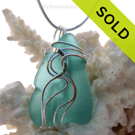 Larger Thin Aqua Sea Glass Sterling Waves© Signature Sterling Setting Pendant