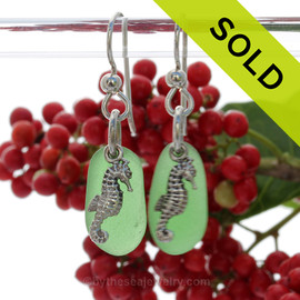 PERFECT Green Genuine UNALTERED Sea Glass Earrings W/ Solid Sterling Sea Horse Charms