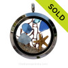 Carolina and Cobalt Blue Genuine Sea Glass Locket With Starfish, Gems & Beach Sand. SOLD - Sorry this Sea Glass Locket Necklace is NO LONGER AVAILABLE!!!