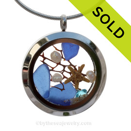 Blue Genuine Sea Glass Locket With Starfish, Pearls, Crystal Gem & Beach Sand