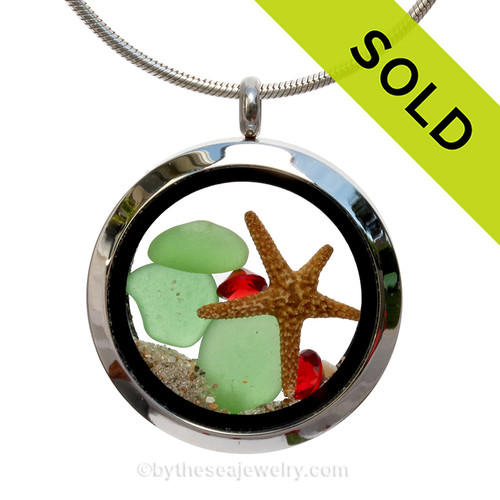 Green sea glass and a real starfish with real beach sand make this a great locket necklace for the holidays. Available - This is the EXACT Sea Glass Jewelry piece you will receive!