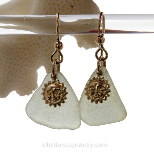 This is the EXACT Sea Glass Jewelry Selection that you will receive! Seafoam Green Sea Glass Earrings On Gold With Sun Charms