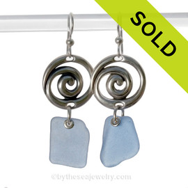 SORRY - These Rare Sea Glass Earrings are NO LONGER AVAILABLE!!! Fresh and LARGE Carolina Blue Sea Glass Earrings on Solid Sterling Silver Hurricane Earrings