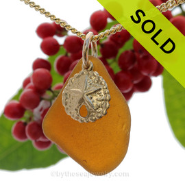 "Amber Brown Sea Glass Necklace With 14K G/F Sand Dollar Charm - 18"" Goldfilled Curb Chain INCLUDED!!"