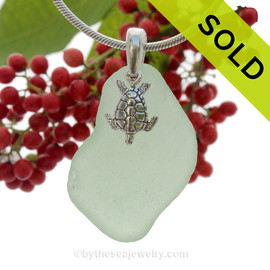 """LARGE Yellowy Seafoam Green Sea Glass Necklace with Sterling Detailed Sea Turtle Charm and 18"""" STERLING CHAIN INCLUDED"""