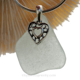 Green Seafoam  Green Sea Glass Necklace With Sterling Hearts in Hearts Charm
