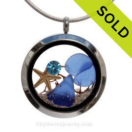 December Seas - Blue Genuine Sea Glass Locket With Starfish and Zircon Gem & Beach Sand
