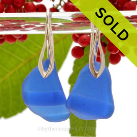 LARGE Ridged Cobalt Blue Genuine Sea Glass on Solid Sterling Deco Hook Earrings