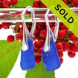 Simply Elegant - Longer Deep Blue Sea Glass Earrings on Solid Sterling Silver Leverbacks