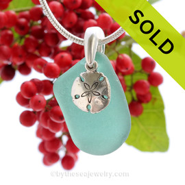 "Tropical Aqua Sea Glass With Sterling Silver Sand Dollar Charm - 18"" STERLING CHAIN INCLUDED"