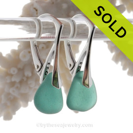 PERFECT Deep Aqua Green Genuine Sea Glass On Solid Sterling Silver Leverback Earrings