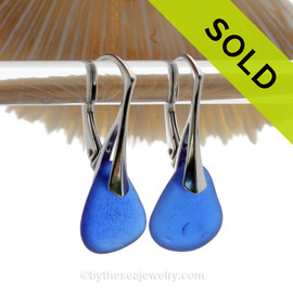 Larger Perfect and Thicker Blue Genuine Sea Glass On Solid Sterling Silver Leverback Earrings