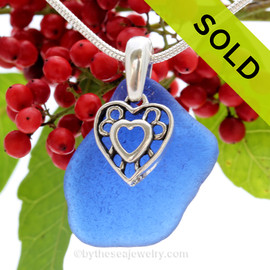 "Genuine Rare Cobalt Blue Sea Glass Necklace with Sterling Silver Hearts  Charm and 18"" STERLING CHAIN INCLUDED"