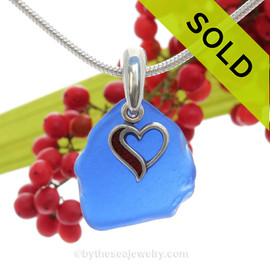 "Rare Cobalt Blue Sea Glass With Sterling Silver Enameled Heart Charm - 18"" STERLING CHAIN INCLUDED"
