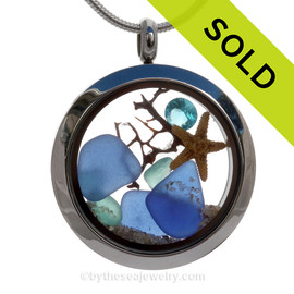 December Beach -  Blue Genuine Sea Glass Locket With Starfish and Zircon Gem & Beach Sand