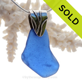 Large Flat Cobalt Blue Sea Glass Necklace On Sterling Coral Branch Bail- Solid Sterling Chain INCLUDED