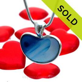 Heart Of The Ocean - ULTRA RARE Blue Multi Natural Sea Glass Heart In Deluxe Sterling Bezel© Pendant