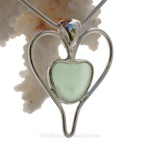 Tell her you love her TWICE as much with this beautiful P-E-R-F-E-C-T and Bright Sea Green Sea Glass Heart set in our Double Love Deluxe Wire Bezel Pendant setting!