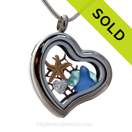 Ocean Lover -  Aqua and Cobalt Sea Glass, Starfish & Brilliant CZ Heart Gem Heart Locket