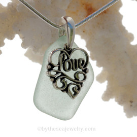 Pale Green Sea Glass Necklace With Sterling Heart LOVE Charm