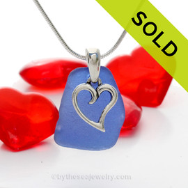"Genuine Cobalt Blue sea glass set on a Solid Sterling Cast bail with a Sterling Silver Heart Charm -  18"" Quality Chain INCLUDED"