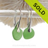 Round Petite Beach Found Vivid Green Sea Glass Earrings On Solid Sterling Silver Leverbacks