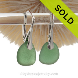 Beach Found Unsual Green Sea Glass Earrings On Solid Sterling Silver Leverbacks