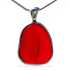 This THICK and P-E-R-F-E-C-T Embossed Vivid Fire Red Genuine Sea Glass set in Solid Sterling Silver Deluxe Wire Bezel setting from the beaches of Seaham England