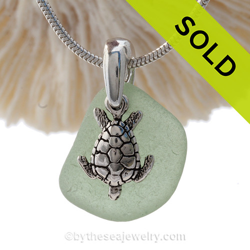 """Bright Fresh Sea Green Sea Glass Necklace with Sterling Detailed Sea Turtle Charm and 18"""" STERLING CHAIN INCLUDED"""