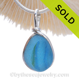 RARE Light Blue Multi with slice of Sunshine Yellow Sea Glass Pendant In Original Wire Bezel Setting©. SOLD - Sorry this Sea Glass Jewelry selection is NO LONGER AVAILABLE!