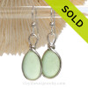 PERFECT Vivid Seafoam Green Beach Found Sea Glass Earrings In Solid Sterling Silver Original Wire Bezel©