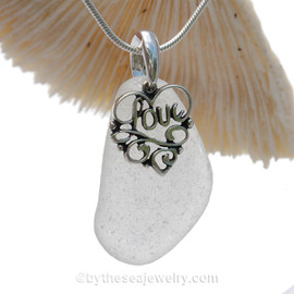 Pure White Sea Green Sea Glass Necklace With Sterling Heart LOVE Charm
