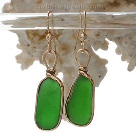 Thick Vivid Green Beach Found Sea Glass Earrings In 14K Goldfilled Original Wire Bezel©