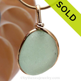 A LARGE very round  seafoam green Sea Glass Pendant set in 14K Rolled Gold. SOLD - Sorry this Sea Glass Jewelry selection is NO LONGER AVAILABLE!