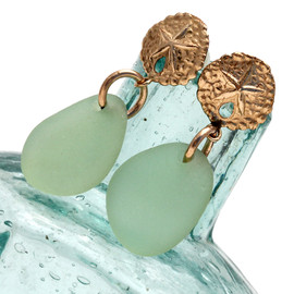 Perfect seafoam green sea glass pieces set on 14K goldfilled sandollar post earrings. This is the EXACT pair you will receive!