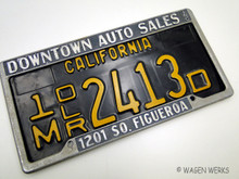 Vintage Dealer Plate Frames - Downtown Auto Sales Inc. Los Angeles Ca