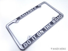 Vintage License Plate Frame - Novelty Salesmen Do it on the Road - 1970s