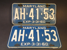 License Plates - Maryland AH4153 1959/60 - Vintage Pair
