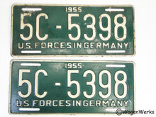 License Plates - US Forces in Germany 1955 - Vintage
