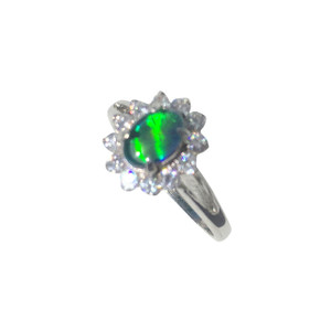 ABUNDANT CLARITY STERLING SILVER BLACK OPAL RING