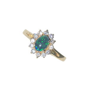 CAPTIVATING FLOWER 18KT GOLD PLATED OPAL RING