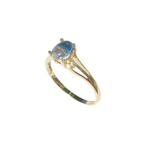 GREAT SPARK 18KT GOLD PLATED BLACK OPAL RING