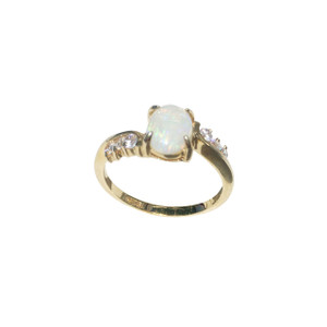 ABUNDANT LOVE 18KT GOLD PLATED WHITE OPAL RING