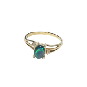 RAINBOW ADVENTURE 18KT GOLD PLATED BLACK OPAL RING