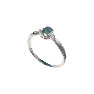 SIMPLE HARMONY SPRITZ STERLING SILVER OPAL RING