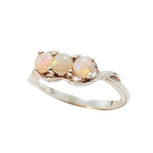 TRIO SPLASH STERLING SILVER WHITE OPAL RING