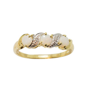 ENCHANTED TRIO 9KT GOLD & DIAMOND NATURAL AUSTRALIAN WHITE OPAL RING